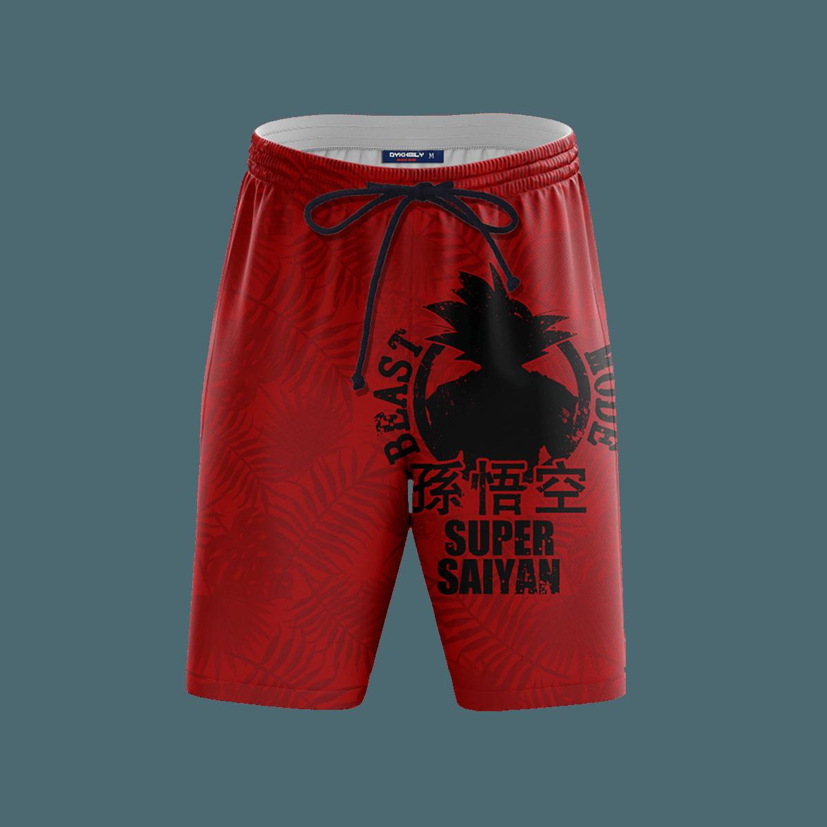 Super Saiyan Beach Shorts FDM3107 S Official Anime Swimsuit Merch
